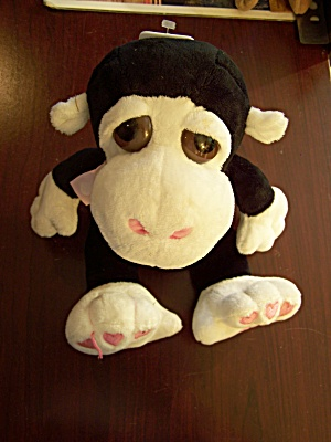Black & White Monkey W/pink Hearts On Feet & Ribbon
