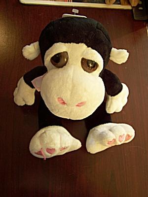 Black & White Monkey w/Pink Hearts on Feet & Ribbon (Image1)
