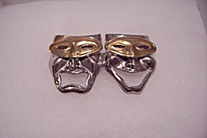 Silver & Gold Tone Mask Brooch/Pin (Image1)