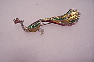 Vintage Peacock Rhinestone & Enamel Brooch/Pin (Image1)