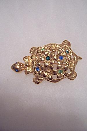 Vintage Rhinestone & Gold Plated Turtle Brooch (Image1)