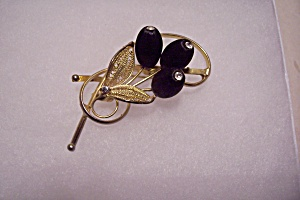 Avon Gold & Black Floral Brooch/Pin (Image1)