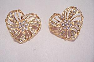 Avon Goldtone & Rhinestone Stud Earrings (Image1)