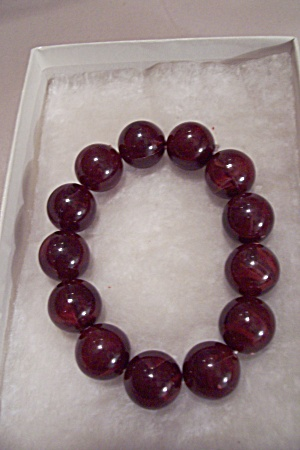 Amber Colored Bead Stretch Bracelet (Image1)