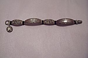 Rhinestone & Silvertone Link Bracelet (Image1)