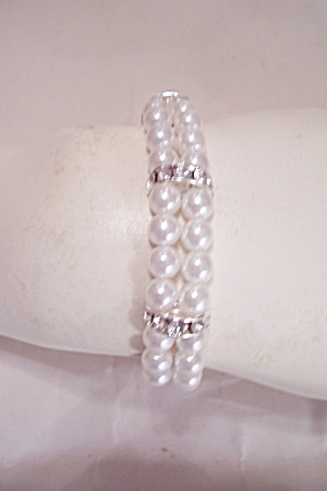 Pearl And Clear Rhinestone Bracelet (Image1)