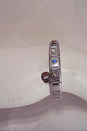Patriotic USA Chrome & Rhinestone Link Bracelet (Image1)