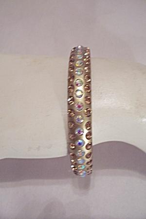 Aurora Borealis & Amber Rhinestone Bangle Bracelet (Image1)
