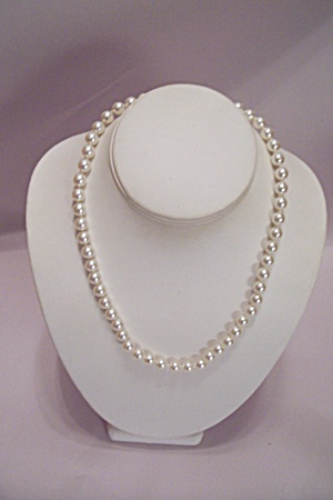 Simulated Single Strand Pearl Necklace