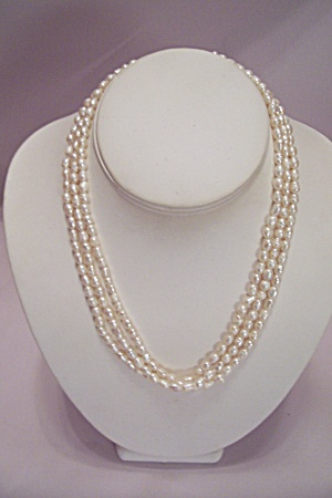 Pearl Like Bead Three Strand Necklace