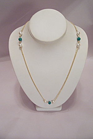 Goldtone Chain And Pearl & Jade Green Bead Necklace