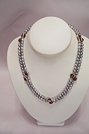 Silver & Amber Bead Necklace