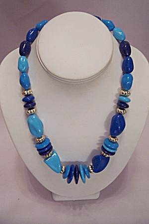 Lauren J Light & Dark Blue Bead Necklace