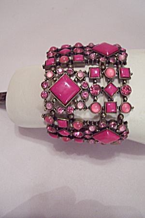 Multi-Size, Shape, Pink Stones & Rhinestones Bracelet (Image1)