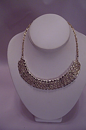 Gold Plated Filigree Link & Chain Necklace