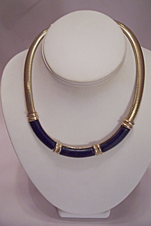 Goldtone Choker Necklace With Black Plastic Decoration