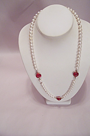 Pearl Bead & Red Heart Necklace