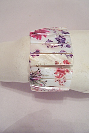 Hand Painted Mother Of Pearl Slab Stretch Bracelet