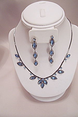 Antique Silver & Blue Stones Necklace & Earrings