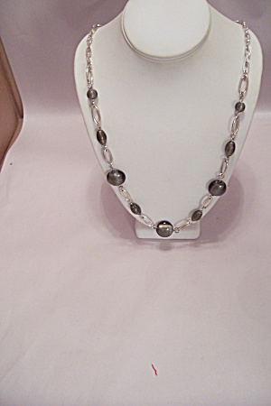 Gold Tone Chain Necklace With Gray Stones