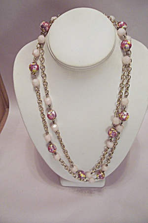 Goldtone Chain & Bead Necklace