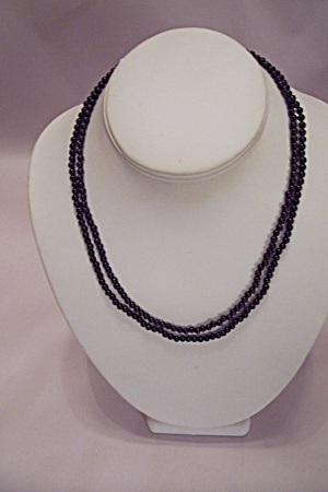 Tiny Black Bead One Or Two Strand Necklace