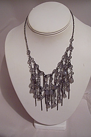 Antiqued Silver Tone & Oval Clear Beads Necklace