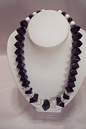 Lauren J Black, White & Clear Bead Necklace