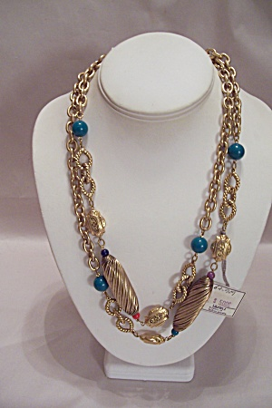 Lauren J Gold Tone Chain & Bead Necklace