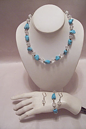 Turquoise & Faceted Clear Beads Necklace Set