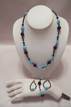 Turquoise Nuggets & Black Faceted Beads Necklace Set