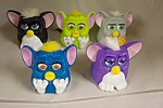 Nice set of 5 McDonald's collectible Furbies in various colors and various mechanisms.  See photo for color variations.  Circa 1990s.