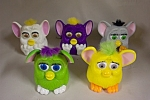 Nice set of 5 collectible McDonald's Furbies in various colors and mechanisms.  See photo for color variations.  Circa 1990s.