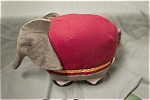 Very cute stuffed dressed-up circus elephant.  12 inches tall and 15 inches long.  Made in China.  Circa unknown.  Clean.