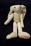 Cute ANCO satin cloth stuffed rabbit. 14 inches tall.  1993.  Very clean and like new.