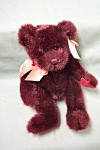 Cute dark maroon MINX stuffed bear by Russ Berrie Co., USA and UK.  14 inches tall.  Clean and in fine condition.  Made in China.  Circa 1990-2000.
