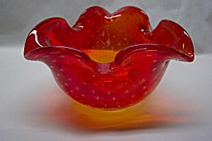 PILGRIM Amberina Controlled Bubble Folded Bowl/Ashtray (Image1)