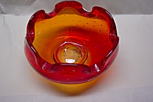 PILGRIM  Handblown Cased Amberina Folded Bowl/Ashtray (Image1)
