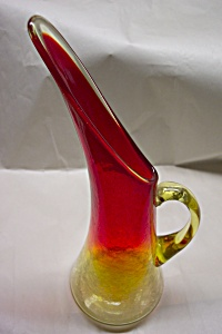 KANAWA Handblown  Amberina & Crackle Art Glass Pitcher (Image1)