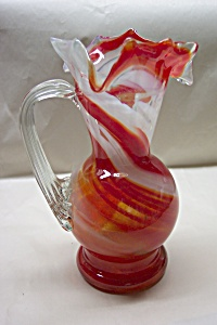 OLD TIMER'S Handblown  Cased Art Glass Pitcher (Image1)