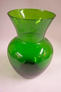 Handblown Emerald Green Bulbous Art Glass Vase (Image1)