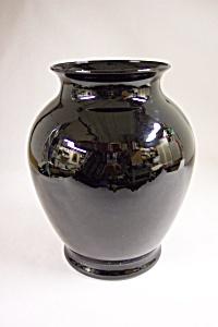 Handblown Black /Amethyst Art Glass Bulbous Vase (Image1)