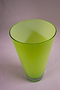 Handblown Cased Lime Green Art Glass Vase