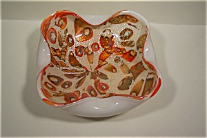 Murano Hand-Blown Art Glass Folded Bowl (Image1)
