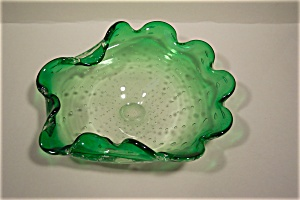 Murano Folded Art Glass Bowl With Controlled Bubbles (Image1)