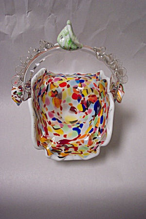 Murano End-of-day Cased Art Glass Basket
