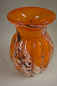MURANO Handblown Orange Art Glass Vase (Image1)
