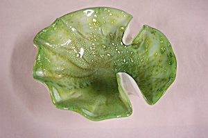 Murano  Green Art Glass Folded Bowl (Image1)