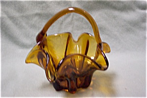 Amber Hand-blown Art Glass Basket