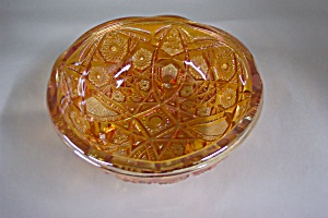 Imperial  Merigold  Carnival  Glass Footed Bowl (Image1)